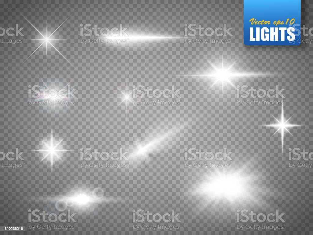 Glowing lights effect, flare, explosion and stars. Special effect isolated vector art illustration