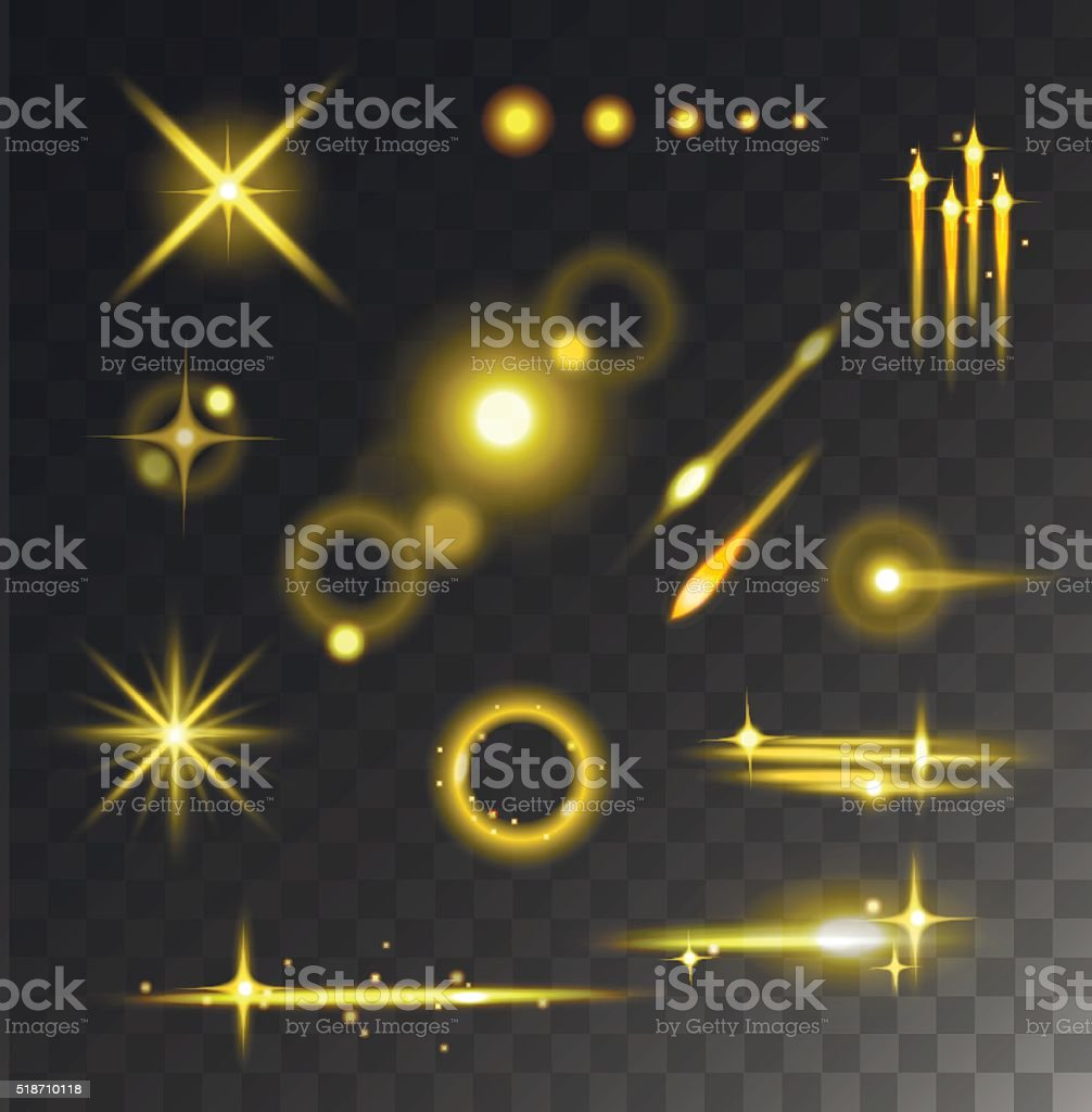 Glowing lights stars glare and glow isolated vector on black vector art illustration