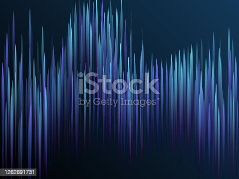 Glowing lines falling abstract big data concept tech vector background. Digital geometric blue lines streams visual optic technology, speed concept. Fiber optics abstract scientific background in blue