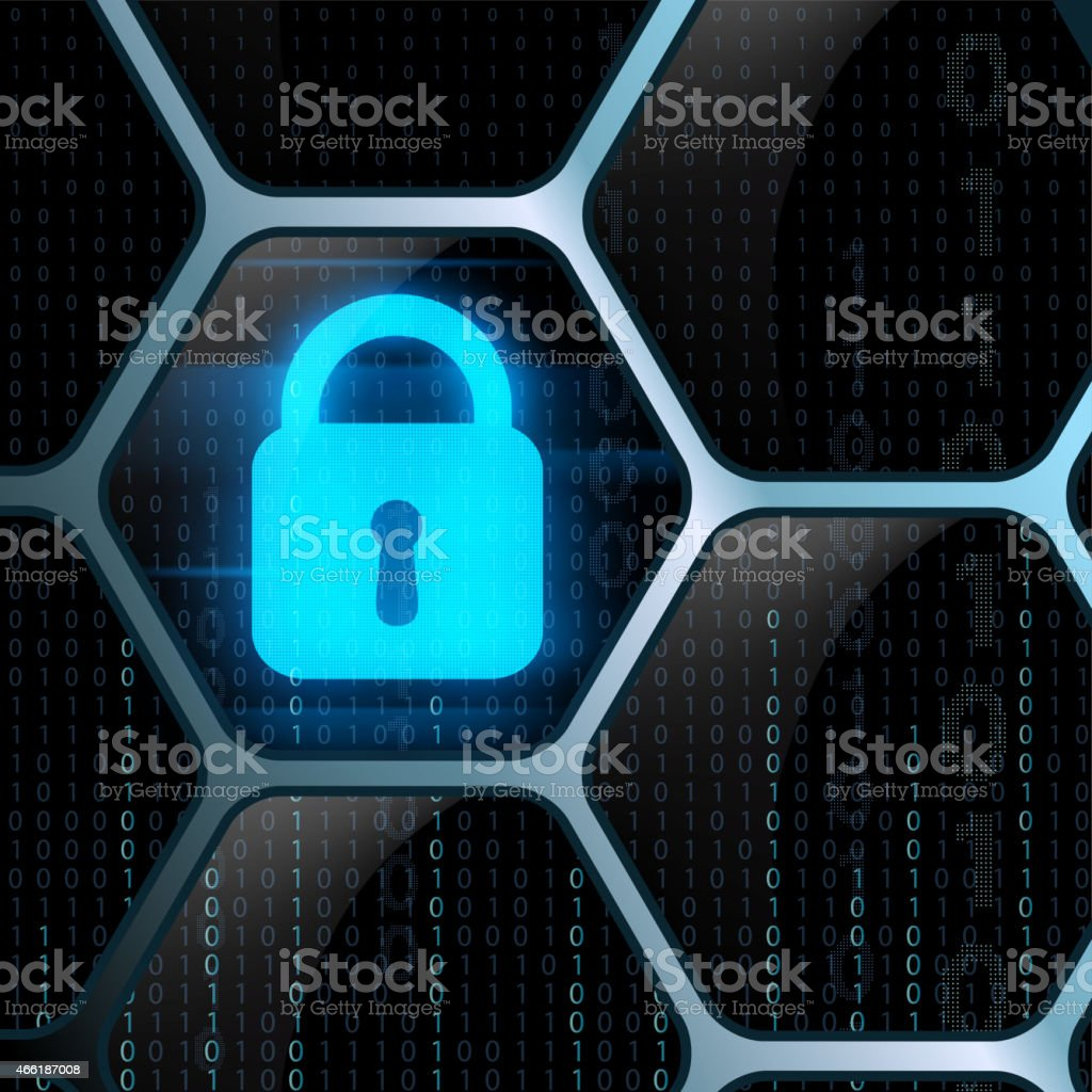 glowing lock security system vector art illustration