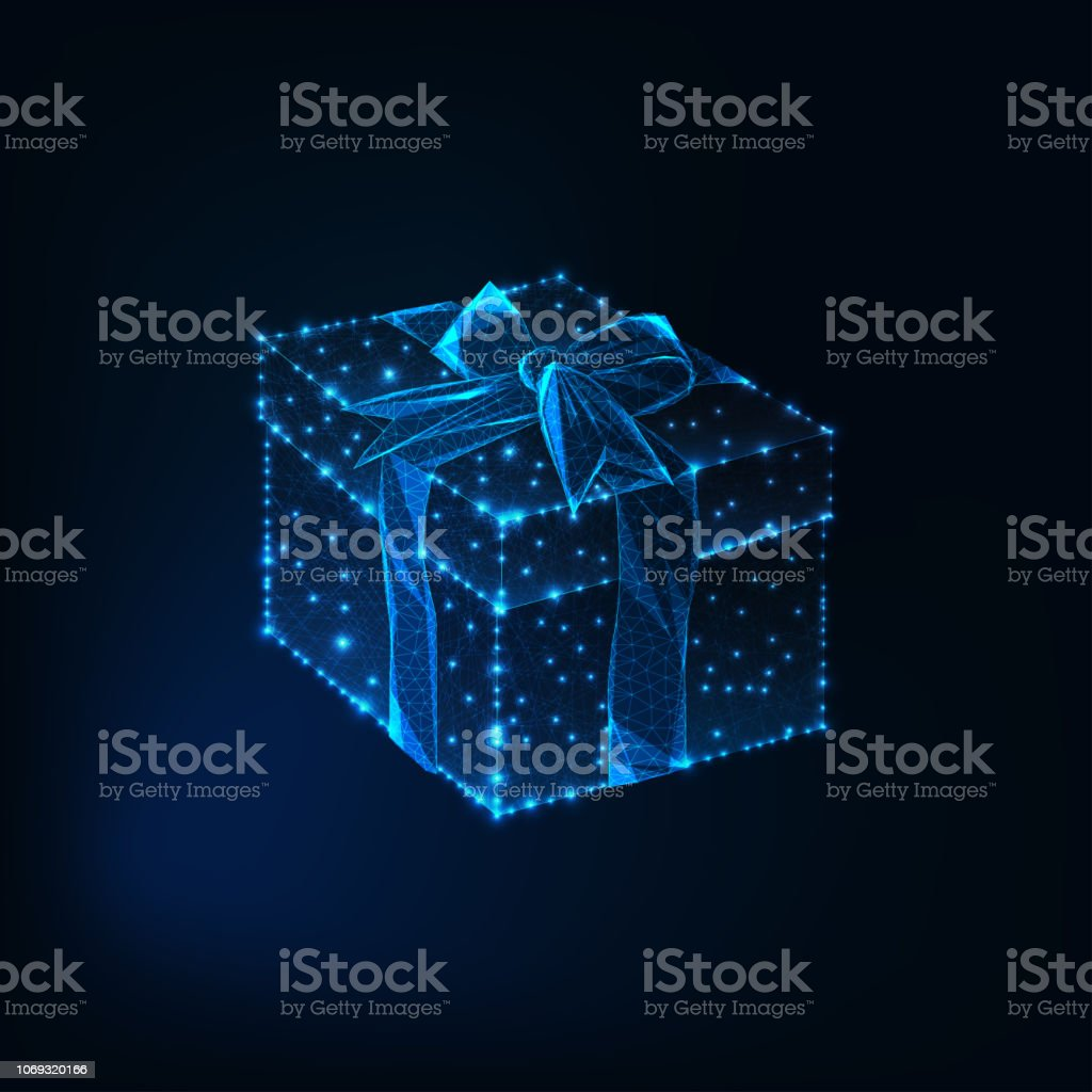 Glowing low polygonal square gift box with ribbon bow made of stars,...