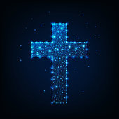 Glowing low polygonal religious christian cross made of lines, stars, dots on dark blue background. Christianity symbol. Futuristic wireframe design vector illustration