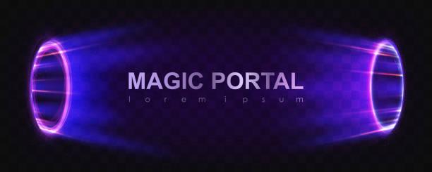 glowing magic portals - oś czasu pomoc wizualna stock illustrations