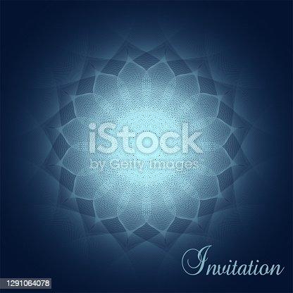 Mandala brilhante em um fundo azul escuro. Convite elegante com vinheta. Padrão de arte da linha abstrata vetorial. Design elegante para cartão de saudação, voucher, capa de livro, folheto. Ilustração EPS10