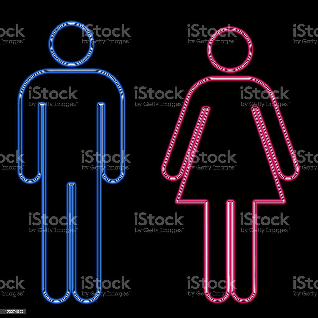 Glowing men's lady's room signs. vector art illustration