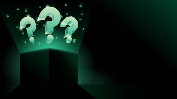glowing mystery gift box with question dark modern style banner or business presentation - тайна stock illustrations