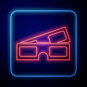 istock Glowing neon 3D cinema glasses icon isolated on blue background. Vector Illustration 1251565181