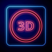 Glowing neon 3D word icon isolated on blue background. Vector Illustration