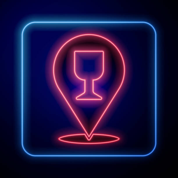 Glowing neon Alcohol or beer bar location icon isolated on blue background. Symbol of drinking, pub, club, bar. Vector Illustration Glowing neon Alcohol or beer bar location icon isolated on blue background. Symbol of drinking, pub, club, bar. Vector Illustration alcohol drink clipart stock illustrations