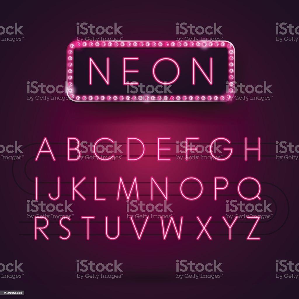 Glowing Neon Alphabet. Font Type. Electric light. Vector illustration. vector art illustration