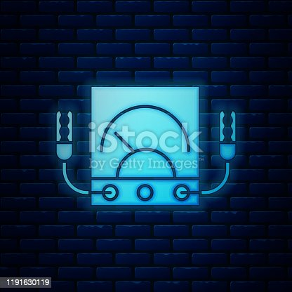 Glowing neon Ampere meter, multimeter, voltmeter icon isolated on brick wall background. Instruments for measurement of electric current.  Vector Illustration