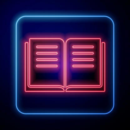 Glowing neon Ancient magic book with alchemy recipes and mystic spells and enchantments icon isolated on blue background. Vector