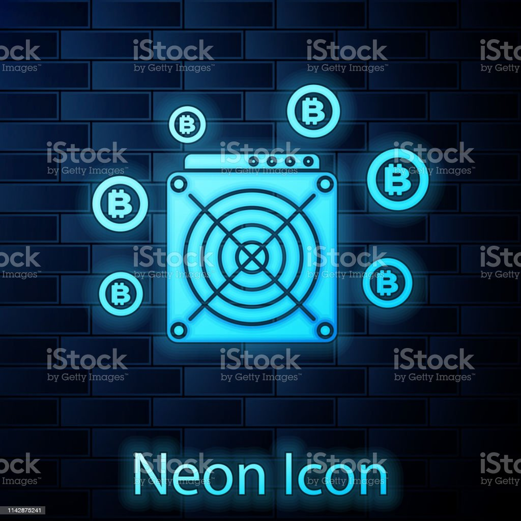 Glowing Neon Asic Miner Icon Isolated On Brick Wall Background