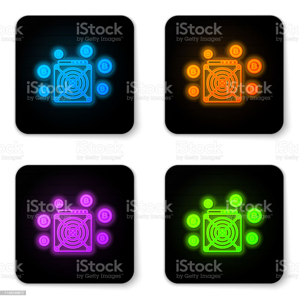 Glowing Neon Asic Miner Icon Isolated On White Background