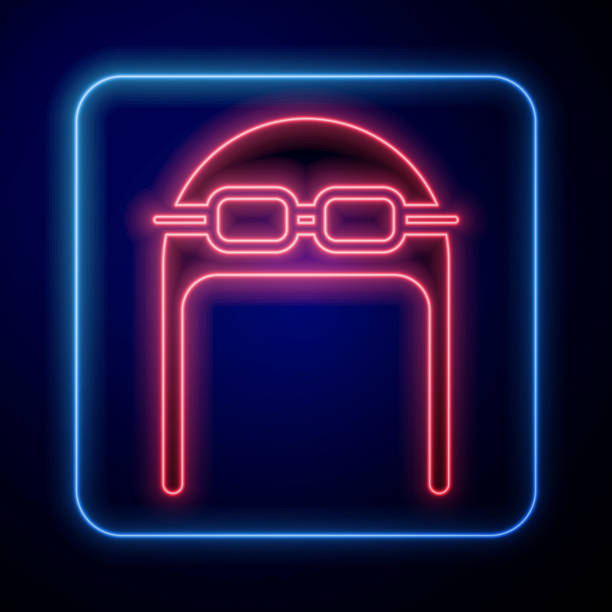 Glowing neon Aviator hat with goggles icon isolated on blue background. Pilot hat. Vector Illustration Glowing neon Aviator hat with goggles icon isolated on blue background. Pilot hat. Vector Illustration adventure clipart stock illustrations