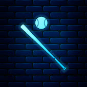 Glowing neon Baseball ball and bat icon isolated on brick wall background. Vector Illustration
