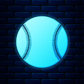 Glowing neon Baseball ball icon isolated on brick wall background. Vector Illustration