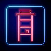 Glowing neon Bathroom rack with shelves for towels icon isolated on blue background. Furniture object for bath room interior. Vector Illustration
