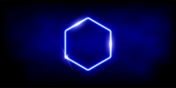 Glowing neon blue hexagon with sparkles in fog abstract background. Electric light frame. Geometric fashion design vector illustration. Empty minimal art decoration