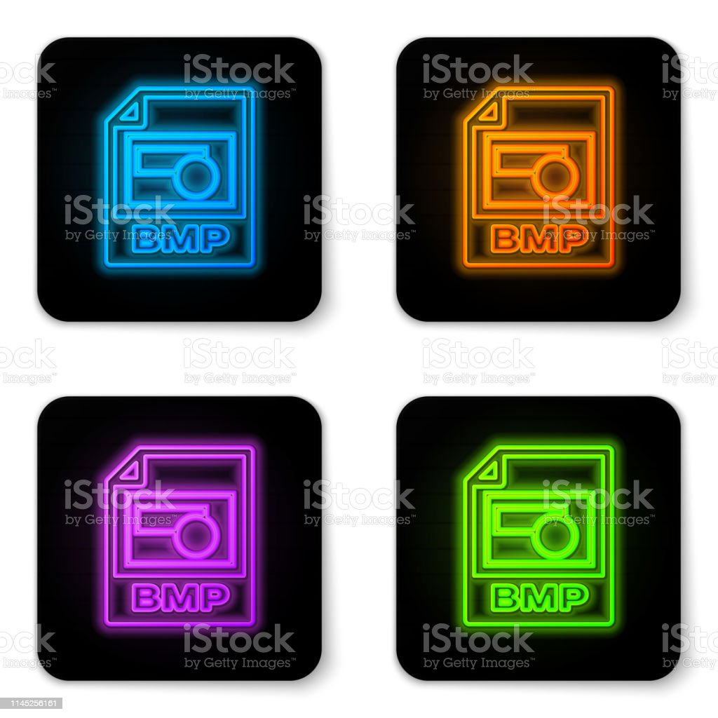 Glowing Neon Bmp File Document Icon Download Bmp Button Icon