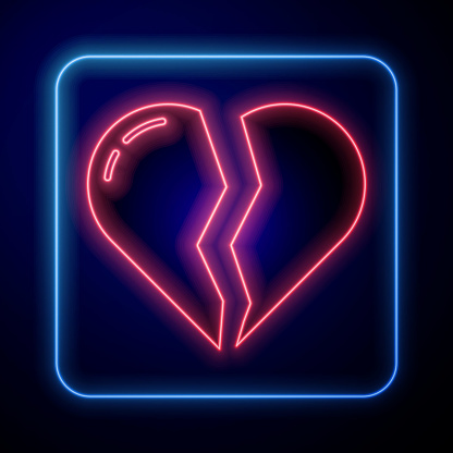 Glowing neon Broken heart or divorce icon isolated on blue background. Love symbol. Valentines day. Vector.