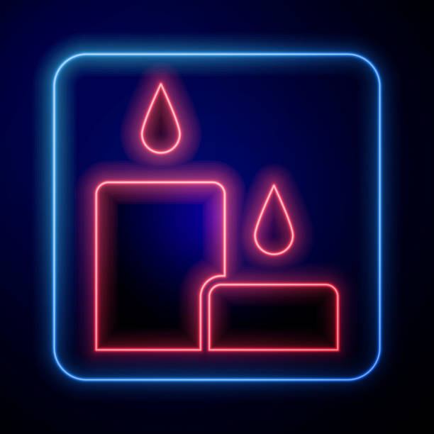 Glowing neon Burning candle icon isolated on blue background. Cylindrical candle stick with burning flame. Vector Illustration Glowing neon Burning candle icon isolated on blue background. Cylindrical candle stick with burning flame. Vector Illustration anniversary clipart stock illustrations