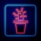 Glowing neon Cactus and succulent in pot icon isolated on blue background. Plant growing in a pot. Potted plant sign. Vector Illustration