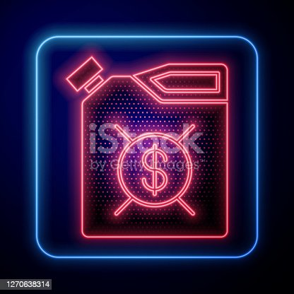 Glowing neon Canister for motor machine oil icon isolated on blue background. Oil gallon. Oil change service and repair. Engine oil sign. Vector Illustration