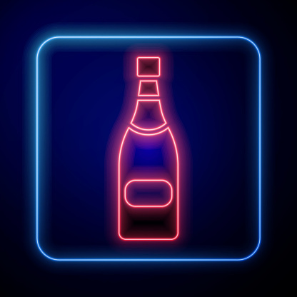 Glowing neon Champagne bottle icon isolated on blue background. Vector Illustration