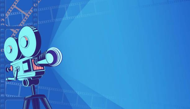 glühende neon-kino-festival-plakat oder banner hintergrund. bunte 3d-stil-filmkamera mit film-spotlight. verkauf kinokarten, filmzeit und unterhaltungskonzept. vektor eps 10 - film oder fernsehvorführung stock-grafiken, -clipart, -cartoons und -symbole