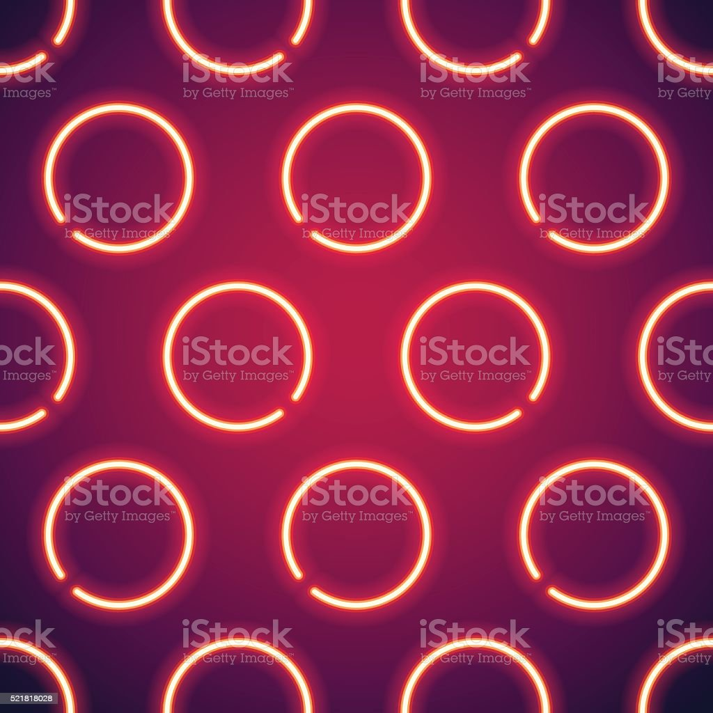 Glowing Neon Circles Seamless Background vector art illustration