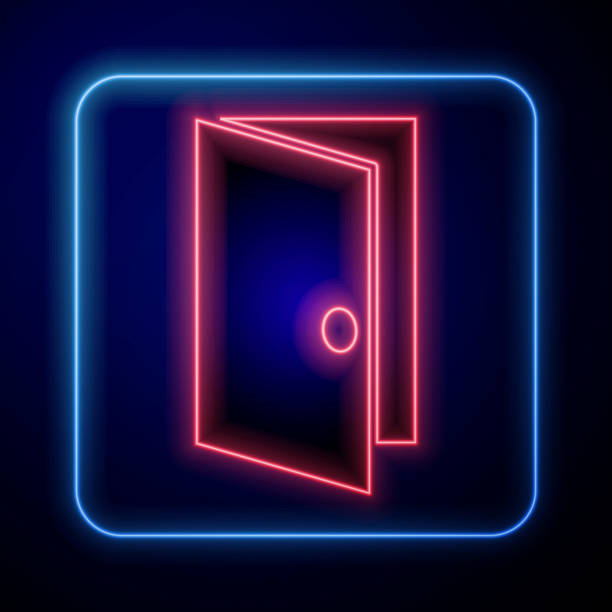Glowing neon Closed door icon isolated on blue background. Vector Illustration Glowing neon Closed door icon isolated on blue background. Vector Illustration architecture borders stock illustrations