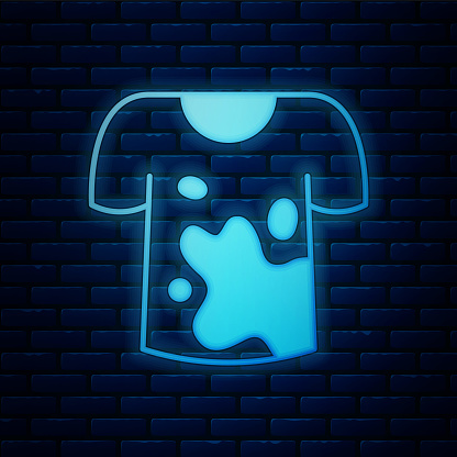 Glowing neon Dirty t-shirt icon isolated on brick wall background. Vector