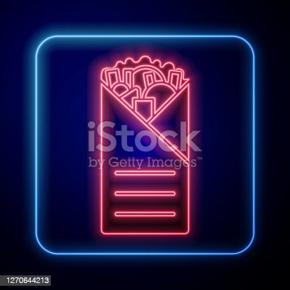 istock Glowing neon Doner kebab icon isolated on blue background. Shawarma sign. Street fast food menu. Vector Illustration 1270644213
