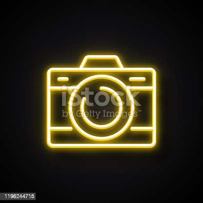 Glowing Neon Effect Camera Icon. Outline Symbol Collection