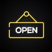 Glowing Neon Effect Open Sign Icon. Outline Symbol Collection