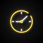 Glowing Neon Effect Wall Clock Icon. Outline Symbol Collection