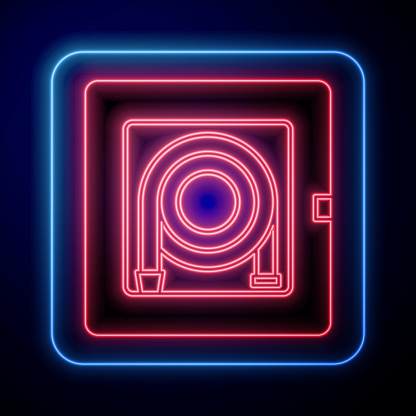 Glowing neon Fire hose cabinet icon isolated on blue background. Vector Illustration