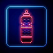 istock Glowing neon Fitness shaker icon isolated on blue background. Sports shaker bottle with lid for water and protein cocktails. Vector Illustration 1268544519