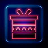 Glowing neon Gift box icon isolated on blue background. Happy Birthday. Vector Illustration