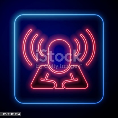 istock Glowing neon Head hunting icon isolated on blue background. Business target or Employment sign. Human resource and recruitment for business. Vector 1271981194