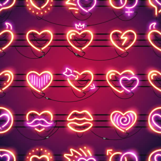 stockillustraties, clipart, cartoons en iconen met naadloze achtergrond van de harten van de gloeiende neon - flirten