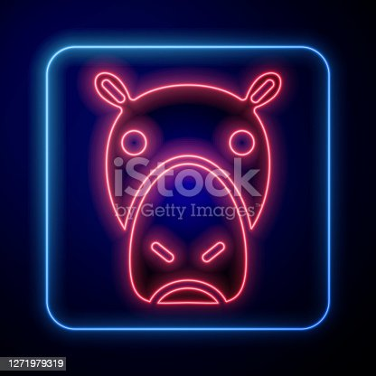 Glowing neon Hippo or Hippopotamus icon isolated on blue background. Animal symbol. Vector.
