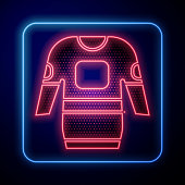 istock Glowing neon Hockey jersey icon isolated on blue background. Vector Illustration 1270638430