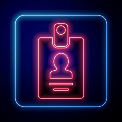 Glowing neon Identification badge icon isolated on blue background. It can be used for presentation, identity of the company, advertising. Vector Illustration