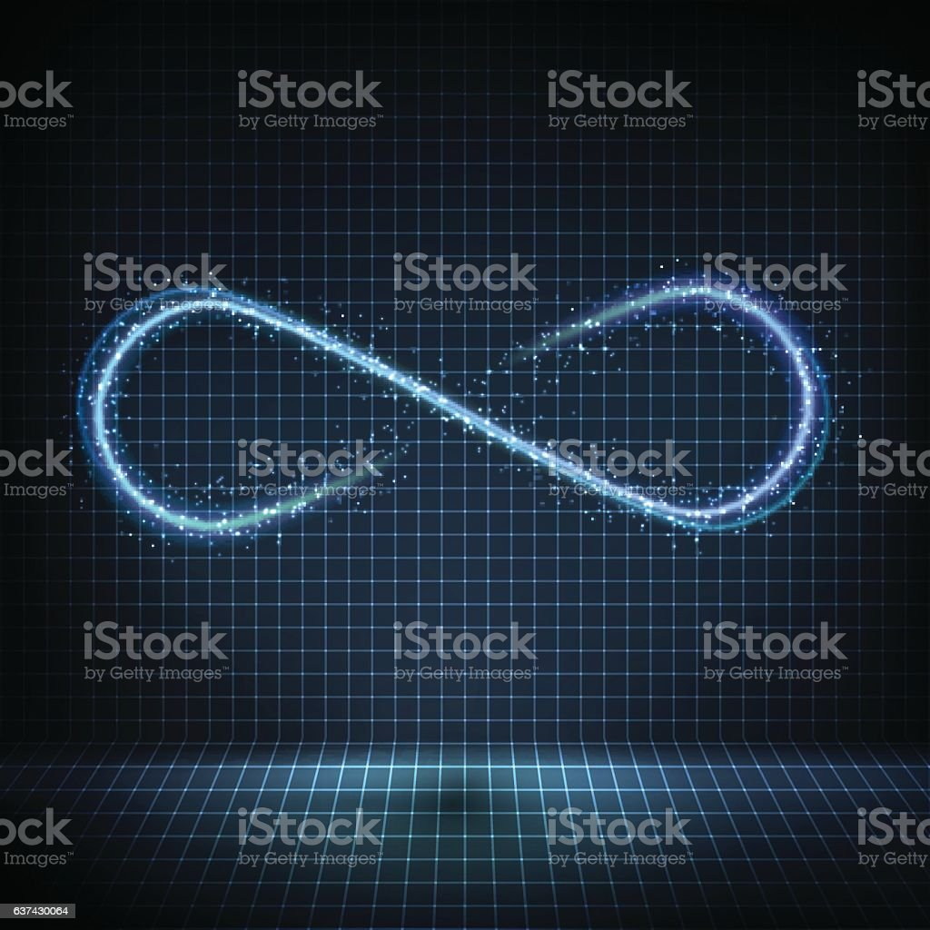 Glowing neon infinity symbol with bright lights and distorted lines vector art illustration