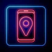 Glowing neon Infographic of city map navigation icon isolated on blue background. Mobile App Interface concept design. Geolacation concept. Vector Illustration