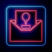 Glowing neon Invitation icon isolated on blue background. Celebration poster template for invitation or greeting card. Vector Illustration