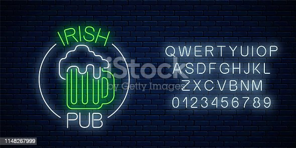 Glowing neon irish pub signboard in circle frame with alphabet on dark brick wall background. Luminous advertising sign of night club with bar. Vector illustration.