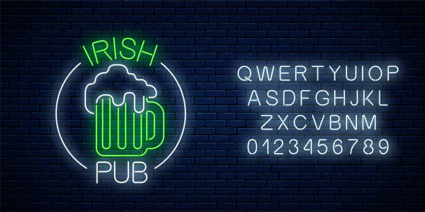 Glowing neon irish pub signboard in circle frame with alphabet. Luminous advertising sign of night club with bar. vector art illustration